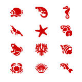 The most popular aquarium inhabitants as glyph icons. There are typical aquarium inhabitants like snail, fishes, crabs and corals Royalty Free Stock Image