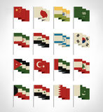 Most popular Asia flags set Stock Photography