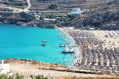 Super Paradise Beach is the most famous beach on the island of Mykonos. stock image