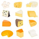 The most popular cheeses color flat icons set. The most popular cheeses color icons set vector illustration
