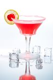Most popular cocktails series. Closeup of Cosmopolitan cocktail in martini glasses. Vodka, cranberry juice, triple sec liqueur, lime juice, garnished with lime Stock Image