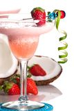 Most popular cocktails series - Strawberry Colada. Strawberry Colada cocktails. Rum, strawberry, coconut cream, vanilla icecream garnished with strawberry and royalty free stock image