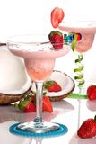 Most popular cocktails series - Strawberry Colada. Strawberry Colada cocktails. Rum, strawberry, coconut cream, vanilla icecream  garnished with strawberry and Stock Photos