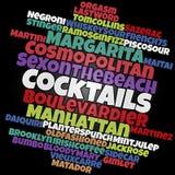 Most popular cocktails word cloud vector illustration