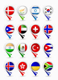 Most popular flags map pointers.Part 2 Royalty Free Stock Photos