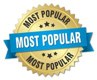 Most popular. Gold badge with blue ribbon vector illustration