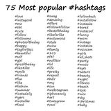 Most popular hashtags in hand drawn style. Vector illustration on white background royalty free illustration