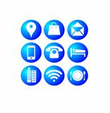 Most 9 Popular Internet Blue Buttons Icons. Most popular inter blue buttons icons location shopping mail phone mobile hotel office WiFi restaurant Royalty Free Stock Photo