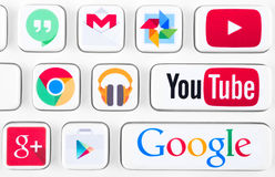 Most popular logotypes of Google applications. SIMFEROPOL, RUSSIA - NOVEMBER 22, 2014: Most popular logotypes of Google applications printed on sticker and Royalty Free Stock Image