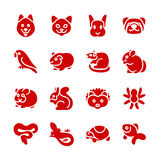 The most popular pets as glyph icons. There are typical pets like dog, cat, ferret and bird Royalty Free Stock Image