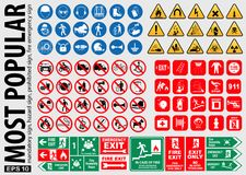 Most Popular signs. Mandatory sign, hazard sign, prohibited sign, fire emergency sign. ready source in sticker, poster, web, brochure,flyer, and another Stock Photography