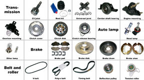 The most popular spare parts of the transmission Royalty Free Stock Images