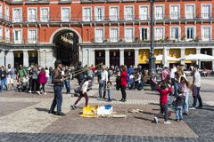 The most popular square of the city visited by tourists and guests of Madrid Plaza Mayor Royalty Free Stock Image