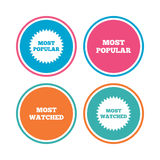 Most popular star icon. Most watched symbol. Royalty Free Stock Image