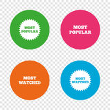Most popular star icon. Most watched symbol. Royalty Free Stock Photography