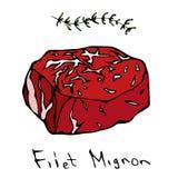 Most Popular Steak Filet Mignon. Beef Cut. Meat Guide for Butcher Shop or Steak House Restaurant Menu. Hand Drawn Illustration. Sa. Voyar Doodle Style Stock Image