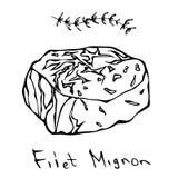 Most Popular Steak Filet Mignon. Beef Cut. Meat Guide for Butcher Shop or Steak House Restaurant Menu. Hand Drawn Illustration. Sa. Voyar Doodle Style Royalty Free Stock Photos