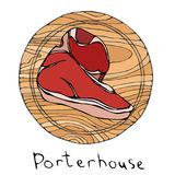 Most Popular Steak Porterhouse on a Round Wooden Cutting Board. Beef Cut. Meat Guide for Butcher Shop or Steak House Restaurant Me stock illustration