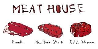 Most Popular Steak Types Set. Beef Cuts. Top Meat Guide for Butcher Shop or Steak House Restaurant Menu. Hand Drawn Illustration. Savoyar Doodle Style. Flank Stock Images