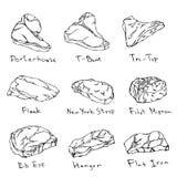 Most Popular Steak Types Set. Beef Cuts. Top Meat Guide for Butcher Shop or Steak House Restaurant Menu. Hand Drawn Illustration. Savoyar Doodle Style Stock Image