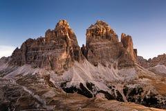 Tre Cime di Lavaredo and Rifugio Auronzo, Dolomites, Italy stock images