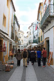 Most popular tourist shopping street in Evora Stock Image