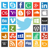 Most popular web icons with twitter bird Stock Photos