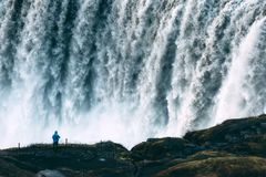 Most powerful waterfall Dettifoss. Dettifoss - most powerful waterfall in Europe. Jokulsargljufur National Park, Iceland Royalty Free Stock Image