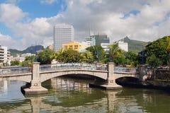 Most przez kanału ludwika Mauritius port Obraz Royalty Free