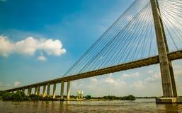 Most przez Saigon rzekę Funan Fotografia Royalty Free
