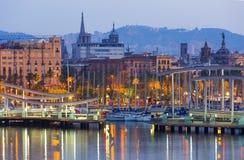 Most przy Portowym Vell podczas świtu Barcelona Obrazy Royalty Free
