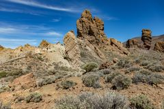 Most recognizable view of Mount Teide on Tenerife. Beautiful landscape in the national park on Tenerife with the famous rock, stock images