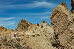 Most recognizable view of Mount Teide on Tenerife. Beautiful landscape in the national park on Tenerife with the famous rock, stock photography
