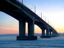 Most through the river Volga. Russia stock image