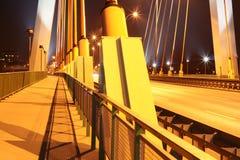 Most Siekierkowski. Bridge in night, Warsaw, Poland, over Wisla river Stock Photography