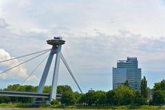 Most SNP bridge, Bratislava. Most SNP `Bridge of the Slovak National Uprising`, commonly referred to as Most Slovenského národného povstania or the UFO royalty free stock photography
