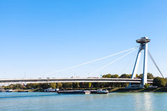 Most SNP bridge over Danube river in Bratislava Stock Image