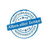 The most sold Music album all the time German language label / badge. The most sold Music album all the time German language: Meistverkauften Alben aller zeiten royalty free illustration