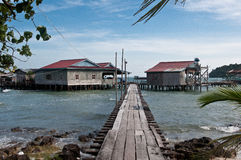 Most spławowa wioska w Wietnam Obraz Stock