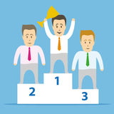The most successful manager. Podium and the winner with the cup in the first place. The most successful businessman Royalty Free Stock Images