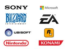 Most successful video game related companies of all time. High quality logo collection set of the biggest video game related companies of all time. Isolated in Royalty Free Stock Photos