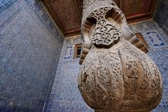 Khiva, Uzbekistan, Silk Route. Most sumptuous interior decoration of the Tosh-Hovli palace in Khiva in the Silk Road, adventure, chiva, xorazm, region, central stock image