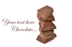 The most tasty chocolate. Isolated on a white background Stock Photos