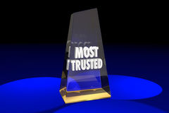 Most Trusted Trustworthy Reputation Award Words Stock Image