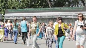 Most turn people buy tickets to the park, Peterhof, Saint Petersburg, Russia stock footage