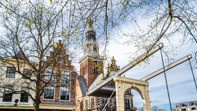 Most w Alkmaar holandie obraz royalty free