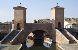 Most w Comacchio, Włochy Obraz Stock