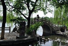 Most w springï ¼ ˆDaming Jeziorny Parkï ¼ ‰ zdjęcia stock