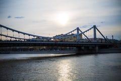Most w tle zmierzch Zdjęcia Stock