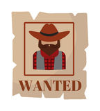 Most wanted man in hat poster concept grunge vector illustration. Stock Image